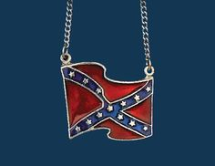 Confederate Rebel Flag Necklace Southern Jewelry
