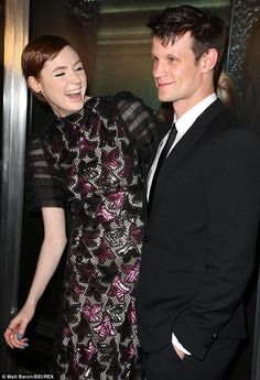Catching up: The stars look at ease with each other at Matt lent his support to promote Karen's new movie on the red carpet