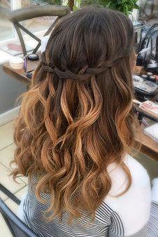 Boho wedding hair, half up half down with a waterfall braid. #CrownBraidHalf