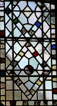 Yanworth St Michael Perpendicular west window 1899 19th century fragments -98