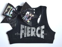 SET Black FIERCE Sports Bra with Matching Bow by BowsWithAttitude, $36.95
