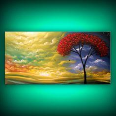 large art abstract painting folk art red original by mattsart, $350.00