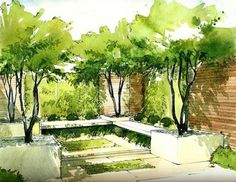 Helen Thomas trained as a landscape architect and specializes in . - Helen Thomas trained as a landscape architect and specializes in … - Croquis Architecture, Landscape Architecture Drawing, Landscape Sketch, Landscape Design Plans, Landscape Drawings, Landscape Architects, Garden Architecture, Landscape Art, Landscape Architecture Perspective