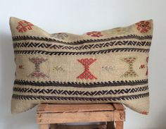 Beige Kilim Cushion with Colorful embroideries cm Kilim Cushions, Throw Pillows, Kilim Beige, Upholstery, Objects, Reusable Tote Bags, Textiles, Colorful, Embroidery