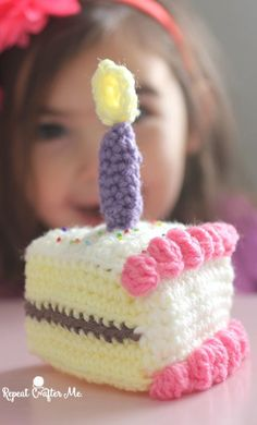 Crochet Slice of Birthday Cake