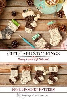 Crochet Christmas Stocking Pattern, Crochet Stocking, Crochet Christmas Ornaments, Holiday Crochet, Crochet Gifts, Crochet Yarn, Christmas Gift Card Holders, Diy Christmas Gifts, Christmas Ornaments Handmade
