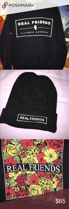 Real Friends BUNDLE Beanie, shirt (women's large), & crewneck sweater (women's small). All worn once or twice and bought during their tour. See original listings for more details. Hot Topic Other