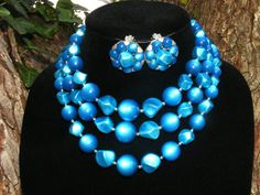 Vintage Coro Bright Blue Triple Strand by GoldiesNaturalGems