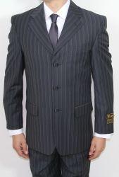 Men's Three Button Black Pin Striped Suit ~BUY 1 GET 1 FREE~