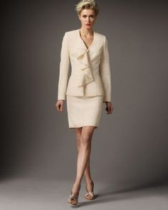 New ALBERT NIPON $228 Ruffle Jacket Textured Holiday Skirt Suit Seville Ivory 6  #AlbertNipon #SkirtSuit