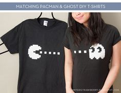 You're pretty cheezy to have a couples' shirt anyway, but since it's Pacman... DIY: Pacman + Ghost Couple Shirt, via Curbly