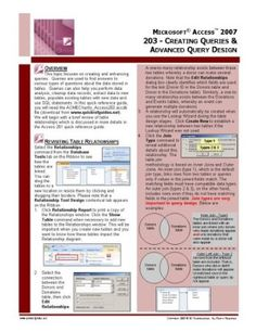 Microsoft Access 2007 Quick Reference Guide: 203 - Designing & Enhancing Data Queries $5.95 Software Amazing Discounts Your #1 Source for Software and Software Downloads! Click On Pins For More Info Getpricesoftware.com
