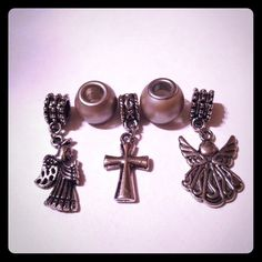 5 Pcs Charms 2 silver color beads 2 angel charms and a cross charm. Comes with the pink butterfly organza bag. Pink Butterfly, Organza Bags, Silver Color, Charms, Cufflinks, Angel, Beads, Accessories, Things To Sell