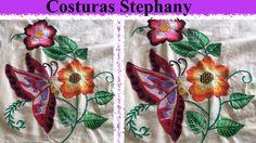 Bordado Fantasia Flor Con Mariposa parte 2 #12