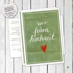 """100 Einladungskarten """"wir feiern hochzeit"""", GRÜN von EINE DER GUTEN - Bücher für ein tolleres Leben auf DaWanda.com"""