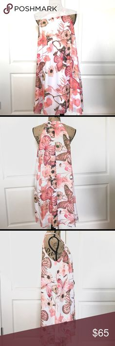 """Boston Proper Floral Butterfly Trapeze Dress Boston Proper Floral Butterfly Trapeze Dress, Size M, Perfect for Spring, EUC, Smoke Free Home.   Length: 33"""" Chest: 40"""" Boston Proper Dresses"""