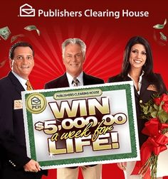 PCH Win $5000 a week for life Sweepstakes I want to win Publishers Clearing House superprize 1830