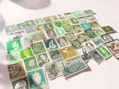 50 Green Postage Stamps – a Worldwide mix of vintage stamps. In this lot you will find 50 beautiful used stamps in different shades of Green. The stamps are from many different countries around the World. Germany, France, Netherlands, Denmark and many more. The stamps are perfect for Paper