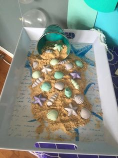 Seashell chocolates at a mermaid birthday party! See more party ideas at CatchMyParty.com!