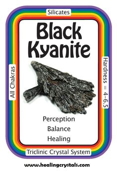 "Black Kyanite, ""I am balanced, grounded, and energized.""  Black Kyanite works with all Chakras, focusing most on the Root Chakra. It can be at once grounding and energizing. Meditating with Black Kyanite can help one to come up with important insights resulting from exploration of the subconscious mind.  HCPIN10 = 10% off  http://www.healingcrystals.com/Kyanite_-_Black_Kyanite_Blades__Brazil_.html"