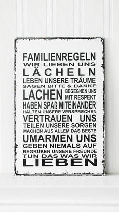 XL  26x17cm Shabby Vintage Schild FAMILIENREGELN von SCHILDERMANUFAKTUR   ---  homestyle-accessoires  --- auf DaWanda.com