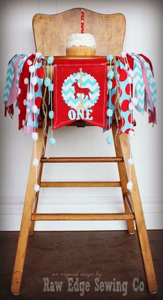 CAROUSEL HORSE Red and Turquoise Birthday High Chair Highchair Banner Party…