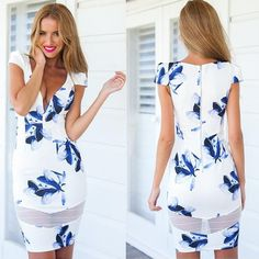 Polyester Sheath One-piece Dress, different size for choice, printed, floral, white - yyw.com