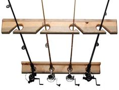 Bike storage racks, bike lifts, family bicycle racks, canoe & kayak hoists, golf bag storage, and more sports storage solutions! - MyGearUp.com - 20147- 4 Space Rod Holder Rack (Pine) *make this for the gayrahge.