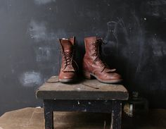 Vintage Ankle Boots Work Boots Roper Style Brown Mens 8 to 8.5 With Kilties From Nowvintage on Etsy