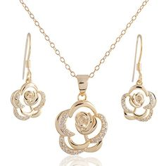 Sterling Silver Gold Plated White Topaz Open Flower Pendant Necklace and Dangle Earring Set * Learn more by visiting the image link.
