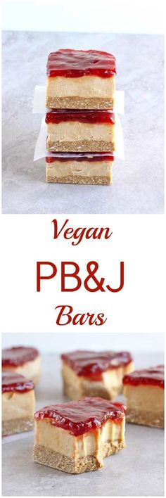 These Vegan PBJ bars are gluten-free, refined sugar free, dairy-free and no-bake! Made with a simple oat crust and topped with a delicious peanut butter filling and smooth jelly, these Vegan PBJ Bars take the beloved sandwich combo to the next level! Vegan Dessert Recipes, Gluten Free Desserts, Dairy Free Recipes, Healthy Recipes, Fun Recipes, Vegan Treats, Vegan Snacks, Vegan Foods, Delicious Snacks