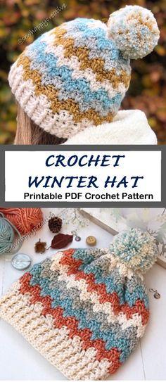 Crochet hat pattern - womens hat- Make a winter hat - A Crafty Life - Mrs. Elisabeth Jones - Crochet hat pattern - womens hat- Make a winter hat - A Crafty Life Crochet hat pattern - womens hat- Make a winter hat - A Crafty Life Winter Make a Cozy Hat - Cute Crochet, Crochet Crafts, Crochet Projects, Knit Crochet, Crochet Hat Sizing, Crochet Stitch, Bonnet Crochet, Crochet Beanie Hat, Knitted Hats