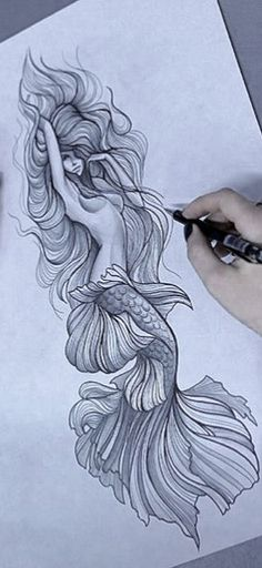 Drawing Mermaid Art New Ideas Trendy Tattoos, New Tattoos, Body Art Tattoos, Sleeve Tattoos, Tattoo Neck, Kunst Tattoos, Tattoo Drawings, Cool Drawings, Tattoo Art