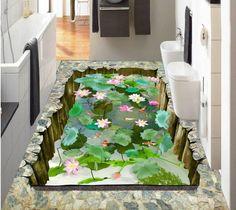 3 d полы пользовательские водонепроницаемый 3 d пвх-покрытия 3 г лотоса lotus пруд этаж 3 d ванная комната полы фото обои для стен 3d