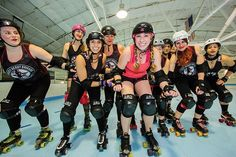The ladies of the Jersey Derby Brigade. NJM's Maryrose Mullen, center with from left, Detective Sure Block Holmes, Kate Tastrophe, Apocelyse, Doom Hilda, Lil Mo Peep, Californikate, LL Kill J, Smiley Cyrus, and Beast Witherspoon.