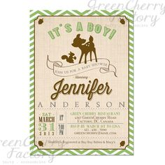 Rustic Woodland Baby Boy Shower Invitation - Chevron Deer Boy Invite Twin Moss Green and Brown  Co-Ed Shower - Printable  No.434
