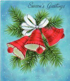 Merry Christmas Christmas Card Images, Christmas Artwork, Beautiful Christmas Cards, Christmas Graphics, Vintage Christmas Cards, Retro Christmas, Christmas Bells, Felt Christmas, Christmas Greeting Cards