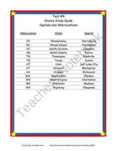 States/Capitals/Abbreviations_Tests  Study Guides