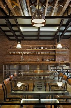 Dropped ceiling with exposed masonry walls. TriBeCa Loft/Industrial Dining Room by Jane Kim Design Loft Estilo Industrial, Regal Industrial, Industrial Stairs, Industrial Interior Design, Industrial Bedroom, Industrial Interiors, Industrial House, Industrial Style, Industrial Wallpaper