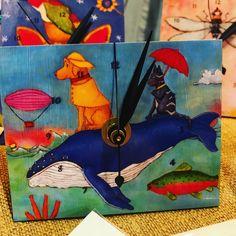 Original artwork on metal clocks found only at Holiday Market by Paperwings Studio Metal Clock, Holiday Market, Christmas Eve, Clocks, Gift Guide, Original Artwork, Lovers, Entertaining, Marketing
