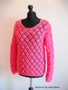 how to crochet pink pullover sweater by marifu6a  video tutorial free pa...
