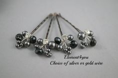 Items similar to Black pearls and crystals bobby clips, Bridal Hair Pins, Wedding Hair Accessories, Pearl Wedding Hair Pins, Set of Floral Vines clips on Etsy Wedding Hair Pins, Wedding Hair Accessories, Black Jewelry, Hair Jewelry, Bridal Jewelry, Pearl Hair Pins, Swarovski Pearls, Black Crystals, Hair Pieces