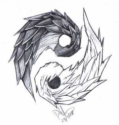 Unique Yin Yang Tattoo Designs – – Tattoo Model And Advice Cat Tattoo Designs, Tattoo Design Drawings, Cool Art Drawings, Pencil Art Drawings, Art Drawings Sketches, Fantasy Drawings, Arte Yin Yang, Ying Y Yang, Yin Yang Art