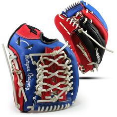 Brandeis (royal) Blue, Red, Black, and White (lace) Premium Kip Leather Custom Baseball Glove by VEKOA.