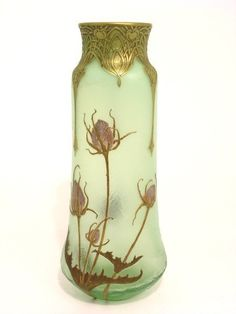 : A French Art glass vase, signed Mont Joye, 15.5in.