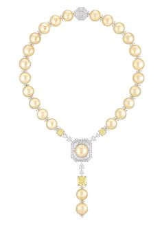 "Chanel - Les Perles de Chanel - ""Perles Royales"" necklace in white gold and platinum, set with three cushion-cut yellow diamonds, brilliant-cut diamonds, baguette-cut diamonds and 25 South Sea cultured pearls."