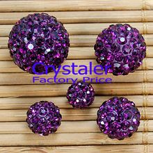 Free Shipping 50pcs/Lot, Good Quality 8mm,10mm,12mm,14mm purple color Crystal Clay shamballa disco ball Beads(China (Mainland))