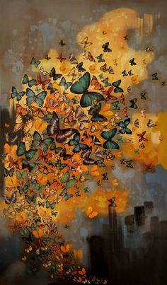 "Saatchi Art Artist Lily Greenwood; Painting, ""Butterflies on Ochres/Greys"" #art"