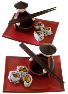 Fun and functional contemporary set is a treat for the eyes as well as the palate! Includes 2 serving plates, 2 dipping bowls and 2 sets of chopsticks. Durable laminate for many years of egg rolls, sushi and tempura! Sushi Set, Sushi Sushi, Sushi Time, Romantic Gifts For Husband, Sushi At Home, Sushi Plate, Chopstick Rest, Vegan Sushi, Gastronomia