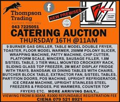 Various shop, butchery, catering, events and office equipment on auction. Equipment For Sale, Office Equipment, Sausage Filler, Wrapping Machine, Used Store, Catering Events, Catering Equipment, East London
